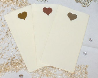 Foil heart on large size ivory paper napkins with the look and feel of linen (Pack of 20)