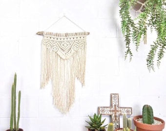 Macrame KIT Wall Hanging DIY    Driftwood + Cotton Rope + Pattern    Creative Gift    Simple Easy Design for Beginner