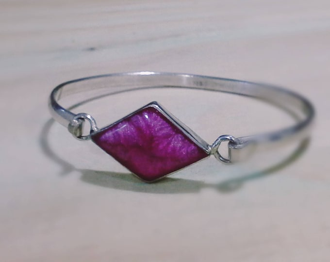 Sterling Silver 925 Mexican Cuff Bangle Faux Resin Pink Diamond Shaped Stone Stamped