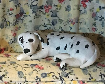 Polymer Clay Dalmatian Dollhouse Sculpture