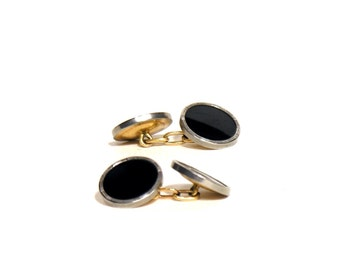 Murat French Gold and Onyx Cuff Links - Art Deco Black Silver and Gold Cufflinks - Men's Trend - 1940 - French Vintage Men Accessories
