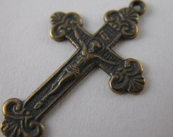 Pure Bronze Small Christening Crucifix Rosary Supplies Findings Religious Jewelry Pendants