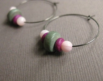 CLEARANCE Hoop Earrings with Pink, Purple and Grey Beads and Gunmetal Grey Hoops,  E 219A