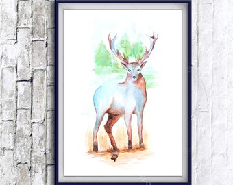 Watercolor Art, deer print, Digital Print, Instant Download Printable Art, watercolor deer painting, deer, animal art, animal painting