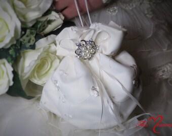 Bridal Purse, Dollar Dance Bag, Money Bag, Money Purse, Wedding Purse, Bridal Money Bag, White Satin Purse, Ivory Satin Purse