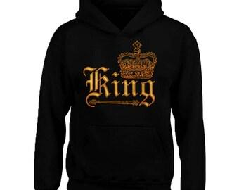 WILD King Crown Hoodie Sweatshirt Crown GOLD King Hoodie Gym Best Design King Sweatshirt