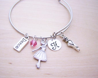 Personalized Bracelet - Ballet Bracelet - Dance Bracelet - Gift for Dancer - Adjustable Bangle Silver Bracelet - Gift for Her