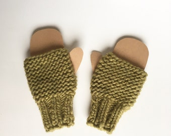 Lime green fingerless mittens