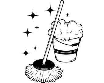 Mop Bucket #2 Cleaning Maid Service Housekeeper Housekeeping Clean Floor Mopping .SVG .EPS .PNG Digital Clipart Vector Cricut Cutting File