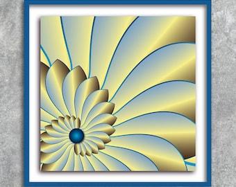 poster yellow fractal geometry poster instant download 5 X 5 8 X 8 10 X 10 12 X 12 15 X 15 16 X 16 18 X 18 20 X 20 30 X 30 50 X 50