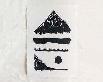 Mountains, Water, & Moon Reflection Original Abstract Landscape Ink Painting By Britt Fabello