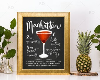 Manhattan Chalkboard Cocktail with Recipe - PRINTABLE Wall Art / Cocktails Mixed Drinks Wall Art / Hand Drawn Cocktails / Cocktails Prints