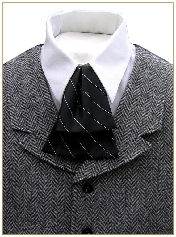 Victorian Mens Ties, Ascot, Cravat, Bow Tie, Necktie Mens Stripe Waterfall Tie Two Color Choices Black and White Stripe or Wine and White Stripe $17.00 AT vintagedancer.com