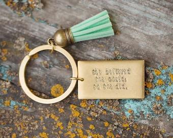 Tassel Keychain. Personalized Keychain. Monogram Keychain. Gold Keychain. Inspirational Gift. Made in America. Graduation Gift