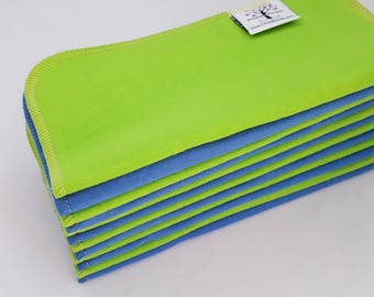 ECO CLOTH WIPES / Set of 12 / Green Blue Cotton Cloth Wipes
