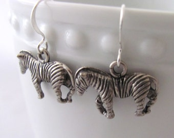 Zebra Earrings Animal Earrings African Animal Earrings Equus Earrings Pewter Copper