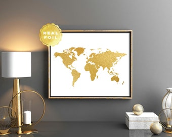 Gold World Map, World Map Real Gold Foil Art Print,  World Map Decor, Travel Decor, Minimalist, Modern, Office Decor, Room Decor