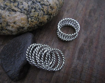 Single Twisted Wire Stacking Sterling Silver Band Rings - Solid Sterling - Stacking Ring