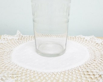 Late Victorian Harlequin or Greek Key Pattern Tumbler or Half Pint Beer Glass, Vintage Glass, Antique Glass, Clear Glass