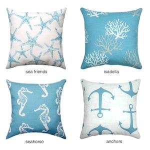 Nautical Pillow Covers, Starfish Cushion Cover, Anchors Hidden Zipper Pillow  Cover, Beach Decor