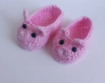 Piggy Baby Booties, Piglet baby shoes, piggy slippers, Crochet Pig Booties