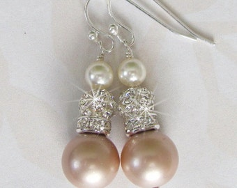 Champagne Bridesmaid Earrings, Champagne Pearl Earrings, Pearl and Rhinestone, Mother of the Bride, Swarovski Pearl, Rhinestone and Pearl
