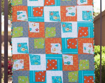 Rough and Tumble - modern paper pieced bed quilt PDF pattern