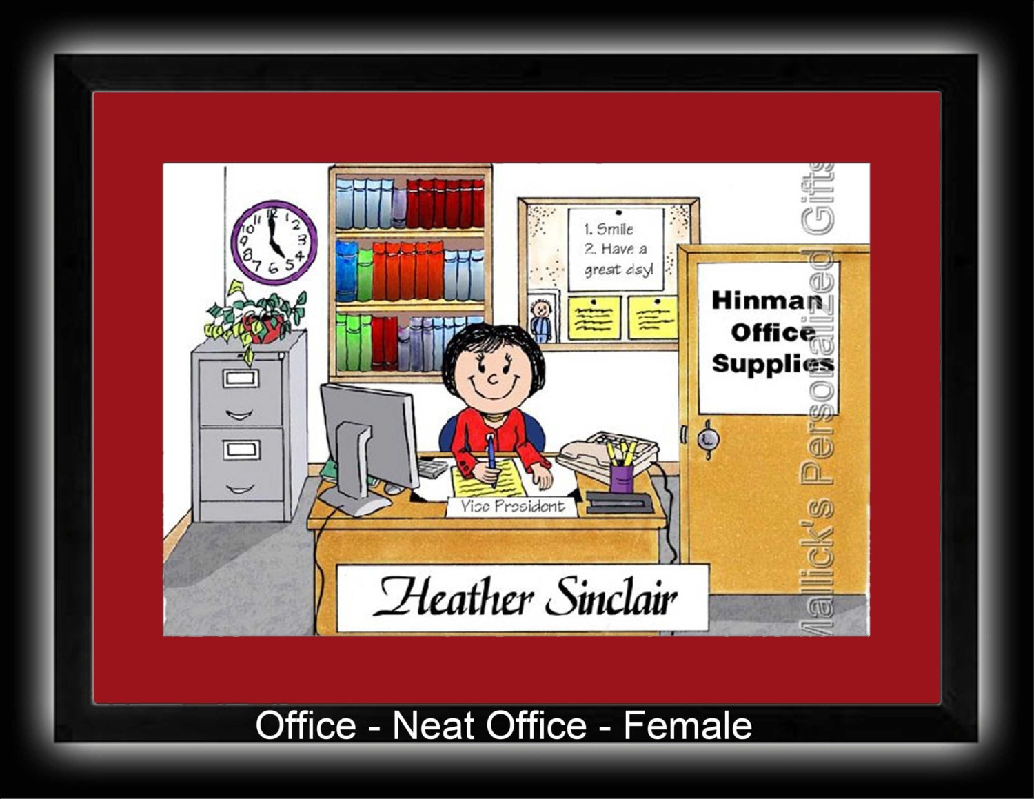 Personalized Cartoon Print Office Secretary Administrative
