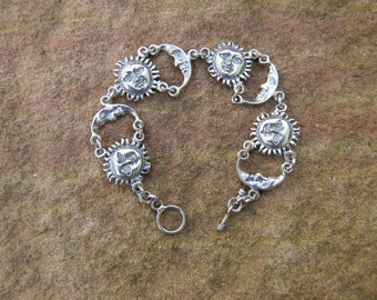 Sterling Silver Sun and Moon Bracelet