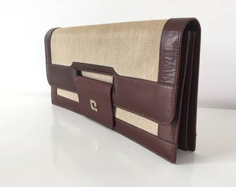 Vintage Pierre Cardin leather and canvas clutch