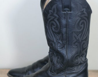 vintage men's black leather cowboy boots size 8 by justin