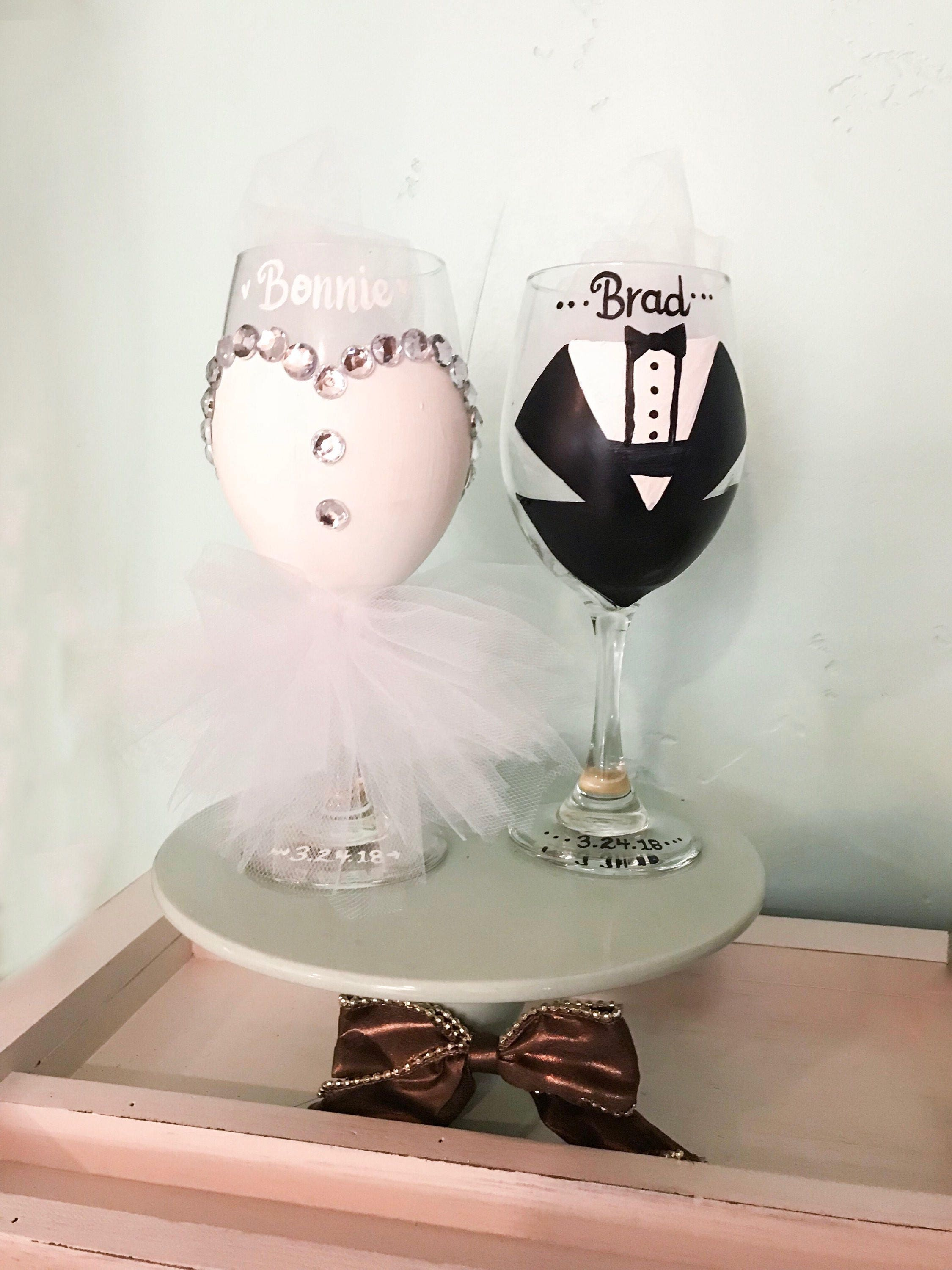 Bride and Groom Wine Glass for First Wedding Toast! Bridal Party ...