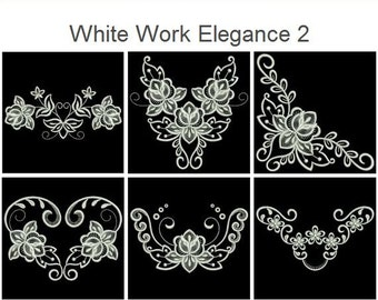 White Work Elegance Machine Embroidery Designs Instant Download 4x4 5x5 6x6 hoop 12 designs SHE5059