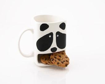 Panda Cookie dunk mug, panda bear cup, animal mug, kawaii cute pottery, kiln fired