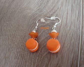 Orange button earrings, orange polymer clay macaron handmade, white