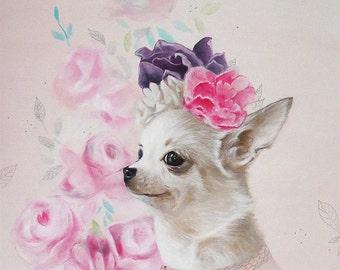 Chihuahua Art - flowers on head - Chihuahua painting Chihuahua decor dog lover gift animal acrylic Chihuahua art Print kids illustration