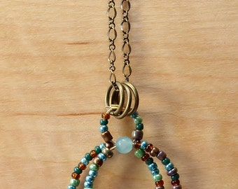 Amazonite and Seed Bead Pendant Necklace