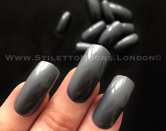 deep grey Creme american curve long false nails coffin square