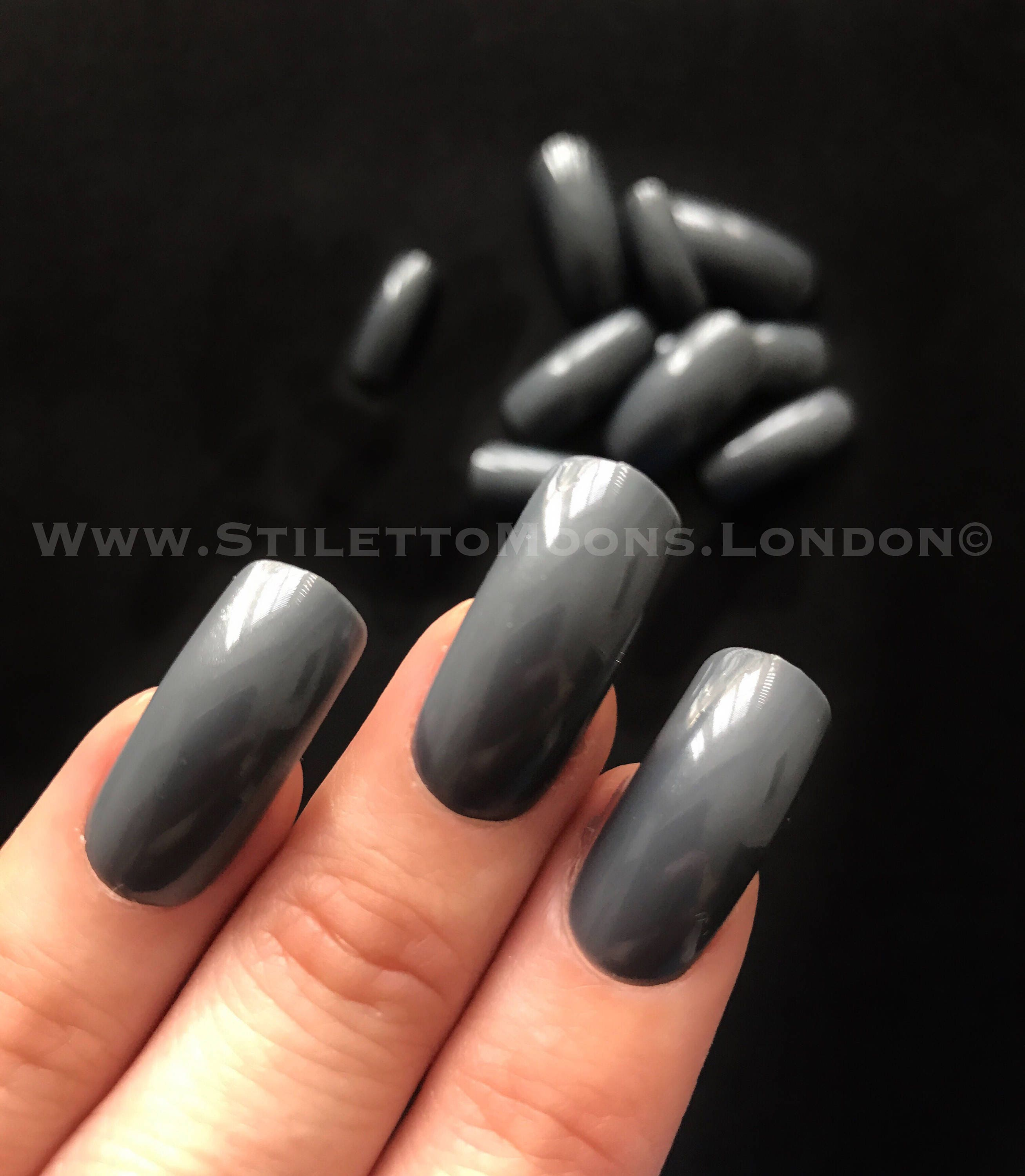 Stiletto Square Nails Black