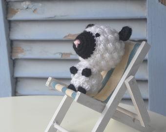Amigurumi crochet baby sheep doll, toddlers farm animal toy. Handmade new plushy.
