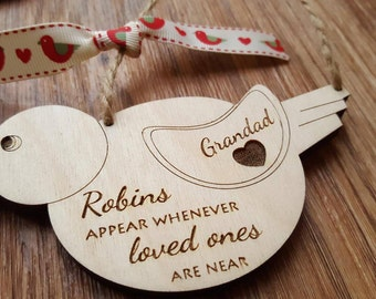 Personalised Robins Appear Whenever Loved Ones Are Near Wood Wooden Hanger Decoration Gift Robin In Sympathy Tree Bird Engraved