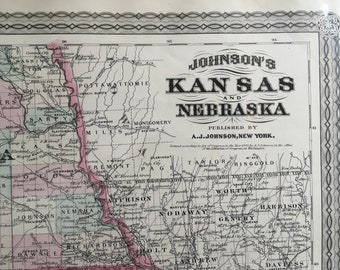 Kansas and Nebraska, Antique Map 1870, Original Antique Handcoulored Map