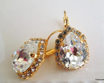 Bridal Earrings Swarovski Earrings Crystal Earrings Swarovski Bridal Drop Earrings Swarovski Teardrop Earrings Statement Bridal Earrings ADA