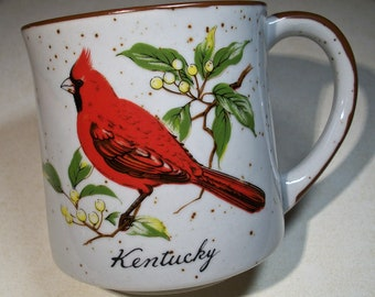 Vintage Kentucky Cardinal Mug! Speckleware, Red Cardinal Bird, Pale Yellow Berries, Branch with Leaves, Kentucky in Script, Ceramic Mug