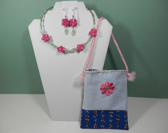 Girly Girl 3 Piece Set Beaded Memory Wire Necklace Pierce Dangle Earrings, Mini Fabric Pouch Fuchsia Color Sakura Cherry Blossom Flower Gift
