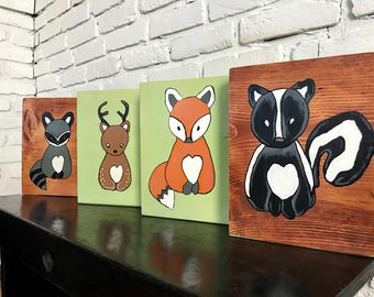 Woodland Nursery Decor - Woodland Animal Art - Fox Nursery Decor - Rustic Nursery Decor - Nursery Wall Art - Woodland Nursery Art