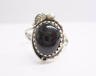 Native American Ring, Sterling Ring, Black Onyx Ring, Sterling Silver Native American Southwestern Oval Black Onyx Ring Sz 5 #3205