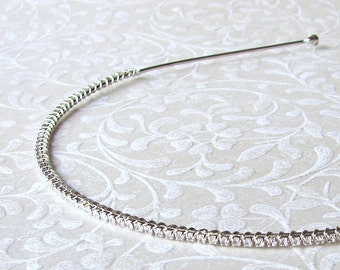 2mm ULTRA Thin Dainty Rhinestone Headband Wedding Headpiece Skinny Bridal Head Band Crystal Diadem Hairpiece Boho Chic Bride Pageant Prom