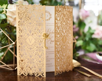 Extravagant Moroccan-Inspired Invitation with Gold Plated Embellishment, White - IWP16022-WH