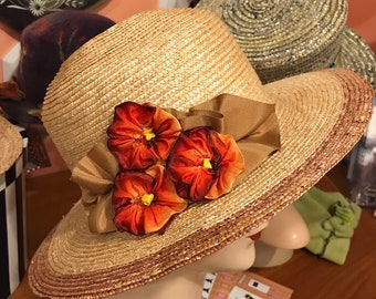 Sewn wheat straw braid sun hat.